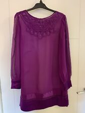 Ladies Monsoon Fuschia Sheer Tunic Dress Size 10/12