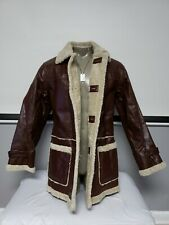 Men's Rare Leather Shearling Jacket Chilli Brown by WilsonsLeather size Medium