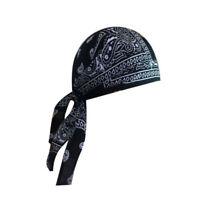 Motorcycle MTB Wrap Biker Hats XL Do Web Bandana Doo Rag Du Head Skull Black Cap