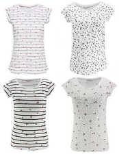 ONLY Damen Top onlBONE LIVA S/S AOP T-SHIRT weiß Streifen Punkte Anker Kirschen