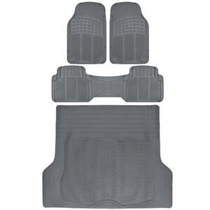 SUV Floor Mat 4 pc Rubber All Weather Heavy Duty Front Rear & Trunk Cargo Gray