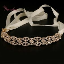 Beautiful Gold Bridal Crystal Diamanté Headband Tiara Hair Comb Ribbon Headpiece