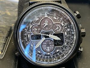 Citizen JY8037-50E Navihawk A-T Black Ion Plated Perpetual Calendar Men's Watch