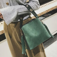FAUX SUEDE BUCKET BAG WOMEN GIRLS TASSELS SHOULDER HANDBAG TOTES SATCHELS NEW