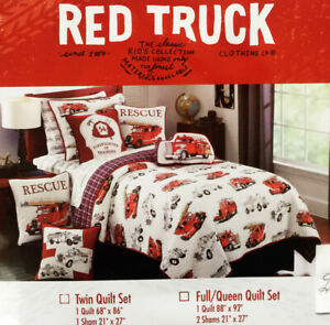 FIRE TRUCK *7pc FULL QUILT SHEETS SET rescue Red Blue Boy Firetruck Plaid Cotton