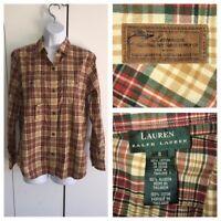 Ralph Lauren LRL Womens Tartan Plaid 3 Pocket Cotton Button Front Shirt Sz S EUC