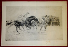 Grafik Kurt Meyer-Eberhardt Radierung,Pferderennen,Durchs Ziel,signiert