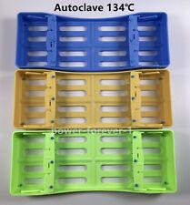 3Pc Dental Sterilization Cassette Rack Tray Hold 4 Instruments Box Purple Yellow
