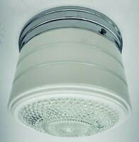 "Vintage MCM 6.5""  Round Flush Mount Ceiling Single Light Fixture w/ Chrome Base"