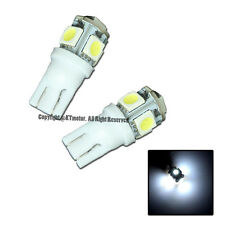 Brand New 2 Pcs White T10 5-SMD Wedge 5050 LED Light Bulbs 192 194 W5W 168 Xenon