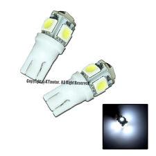 Brand New 2 Pcs White T10 5-SMD Wedge 5050 LED Light Bulbs 192 194 W5W 168 Xenon