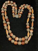 Vintage Estate Natural Wood Tone Large Bead Multi Strand Statement Necklace