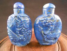 Chinese antique Vintage reproduction  Lapis Snuff Bottles with spoon (2 pcs lot)