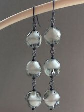 Vintage Grey & White Faceted Givre Glass Oxidized Sterling Silver Earrings