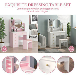 Modern Dressing Table Makeup Desk Vanity Mirror & Stool Furniture Set Bedroom UK