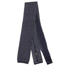 BLOOMINGDALE'S Square Tip Woven Linen Birds Feet Blue White Mens Neck Tie