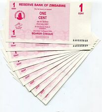 Zimbabwe 2006 P33 1 Cent Bearer Check Unc X 10 Consecutive Note Lot - AA Prefix