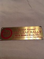 Second Annual Red Leaf Rally Auto Sport Club 1954 Warren Pennsylvania Metal Tag