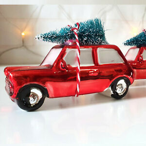 2 x Red Christmas Car Tree Decorations Mini Shiny Red Glass Car Hanging Ornament