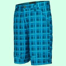 OAKLEY FRACTURE Flat Front Stretch Golf Shorts BLUE PLAID MENS SMALL 30 WICKING