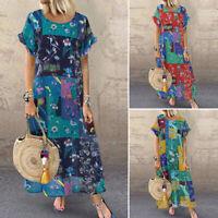 Vintage Femme Casual en vrac Manche Courte Imprimé Plage Floral Robe Dresse Plus