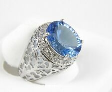 Oval Blue Topaz & Diamond Halo Filigree Lady's Ring Band 14k White Gold 7.31Ct