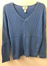 Talbots Sweater M Blue Pima Cotton V Neck Cable knit Euc
