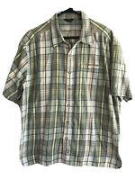 Royal Robbins Button Up Shirt Mens Large Brown Green Plaid Short Sleeve Cotton