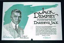 VERY VERY RARE 1920 Jack Dempsey DAREDEVIL JACK movie film mini poster boxing