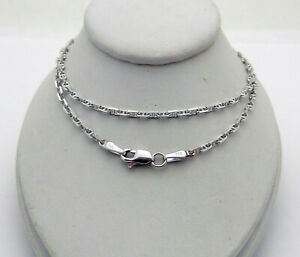 """Solid 14k White Gold Mariner Style Chain Necklace 6.7 grams 22"""" long"""