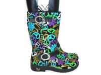 Alegria 37 6.5 Cabi Good Vibes Boots Black Purple Blue Gold Mid Calf Peace Zip