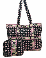 VERA BRADLEY Lot of 2 Large Tic Tac Tote Bag & Purse Cosmetic in Pink Elephants!