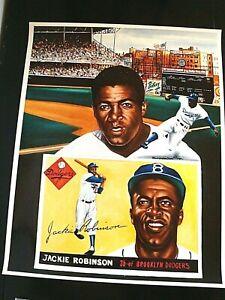 Jackie Robinson Litho Brooklyn Dodgers Artist the Late Robert Stephen Simon Rare