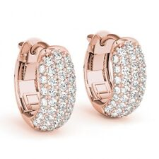 1 Carat Diamonds 5 Row Pave Hoop Huggie Earrings 14k Pink Gold 0.5 Inch Gorgeous