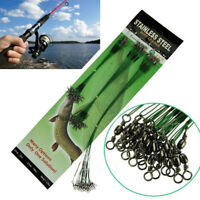 20Pcs New Green Traces Wires Pike Card Swivels Safety Snap Fishing Lures Hook