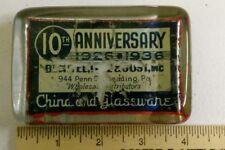1936 Bechtel Lutz & Jost Glass / China Distributer paperweight Reading PA