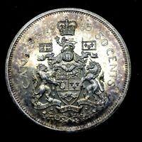 CANADA :1965 - (50 CENTS) HALF DOLLAR ,KM#63 ,ELIZABETH II, GEM BU SILVER COIN.