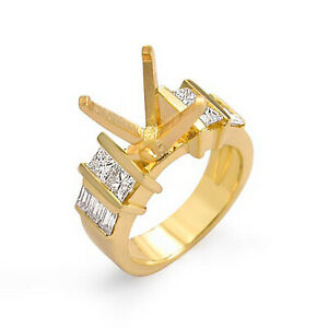 0.75 Ct Princess Diamond Semi Mount Wedding Bridal Ring 14k Gold Yellow G VS2