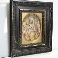 fein gemaltes Miniaturgemälde König David mit Harfe