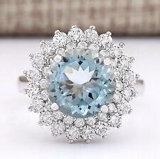 4.28 Carat Natural Aquamarine 14K White Gold Diamond Ring