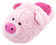 Fuzzy Pink Pig Animal Slippers for Women