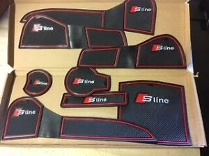 AUDI A4 2009 - 2013 S-LINE INTERIOR DASHBOARD MAT GATE PAD TRIM SET - RED ONLY