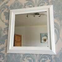 VINTAGE WHITE WALL MIRROR square frame dorset country style wall mirror 55x55cm
