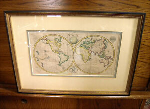 ANTIQUE FRAMED HAND COLORED WORLD MAP WALKER'S GEOGRAPHY CIRCA 1820