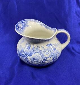 Antique French Jardiniere U et C Sarreguemines Blue Floral Pitcher / Jug