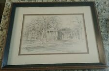 VINTAGE RARE JAS F. MURRAY ETCHING - THE OLD COLLEGE - UNIVERSITY OF DELAWARE