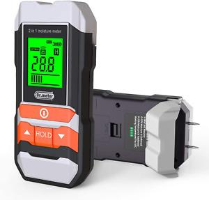 Wood Moisture Meter, 2 in 1 Pin & Pinless Moisture Meter for Wood, Dr.meter LCD