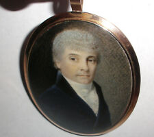Fine Antique English 18t miniature painting man portrait mourning hair 14k gold