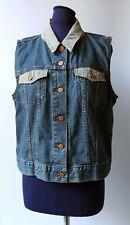LEVI Women's Blue Denim Gilet Waistcoat Sleeveless Jacket Cowgirl Country - XL