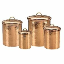 Plastic Canister Set, 4-Piece Decor Copper Hammered Kitchen Food Sugar Storage